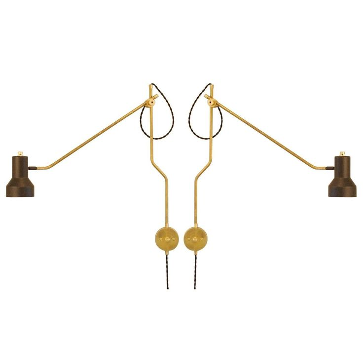 set of six industrial brass wall mount swing arm lamps