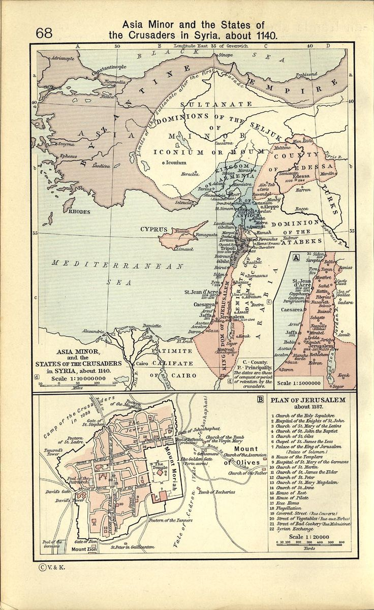 Map of the Byzantine Empire and Crusader Stats, 1140