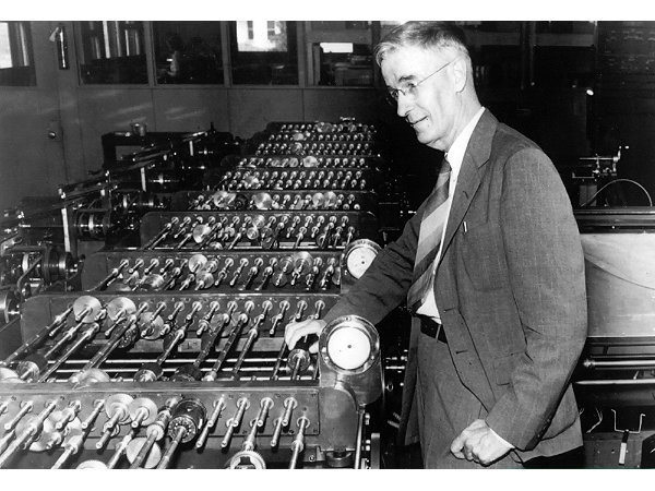 "Vannevar Bush's 1945 article ""As We May Think"" set the stage for post-war science and tech. Bush (1890–1974) with his differential analyzer."
