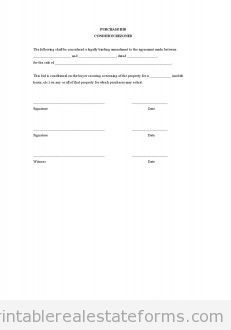 Sample Printable Purchase Bid Condition Rezoned Form