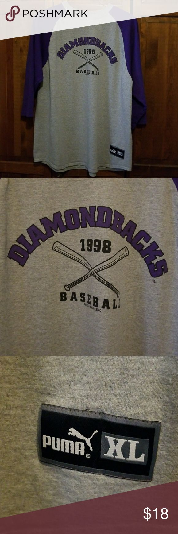 1998 AZ Diamondbacks Puma 3/4 Sleeve T-Shirt Grey and purple Diamond 1998 T-shirt has 3/4 length sleeve, by Puma, never worn, Excellent Condition!!! Puma Shirts Tees - Long Sleeve