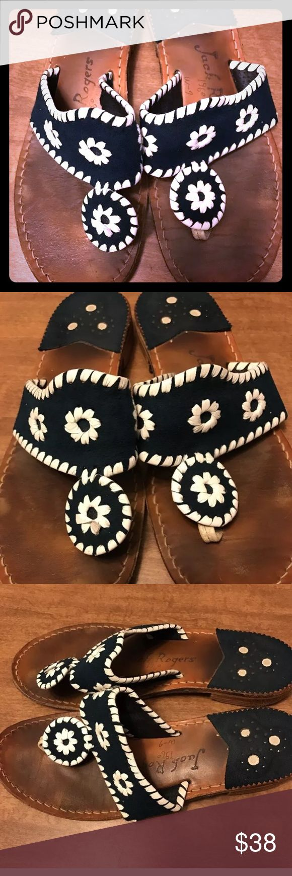Jack Rogers  navy blue white sandals sz 6 Signs of Wear shown in pictures still great condition Jack Rogers Shoes Sandals