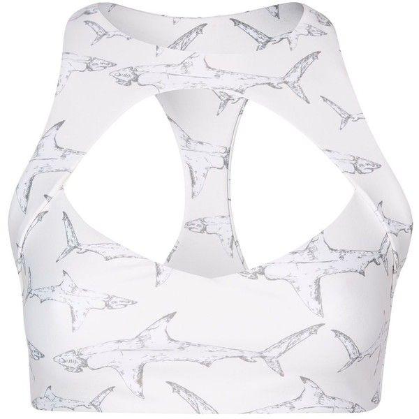 Shark Cut Out Bikini Top by Boys + Arrows ($115) ❤ liked on Polyvore featuring swimwear, bikinis, bikini tops, white, swim tops, swimsuit tops, racerback bikini top, racerback swimsuit top and white tankini top