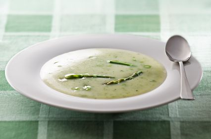 Creamy Asparagus Soup with a Poached Egg on Toast on Green BEAN ...