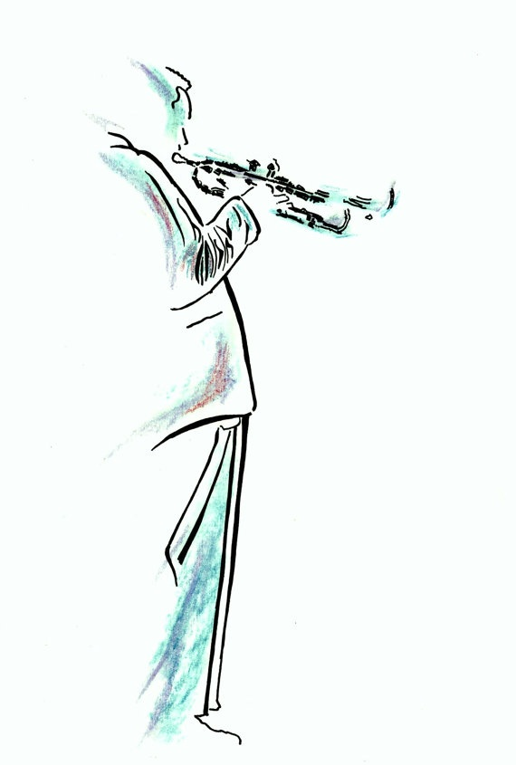 Jazz Musician Male Artist with Trumpet by patrickaldridge on Etsy, £18.00
