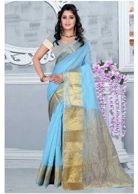 mer couleur verte soie de coton sari, - 49,00 €, #SariMariageRouge #LaModeExclusive #SariPasCher #Shopkund