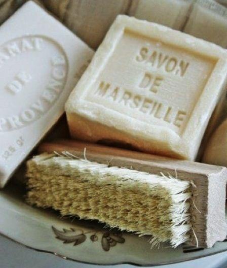 Close up van Savon de Marseille zeepjes.