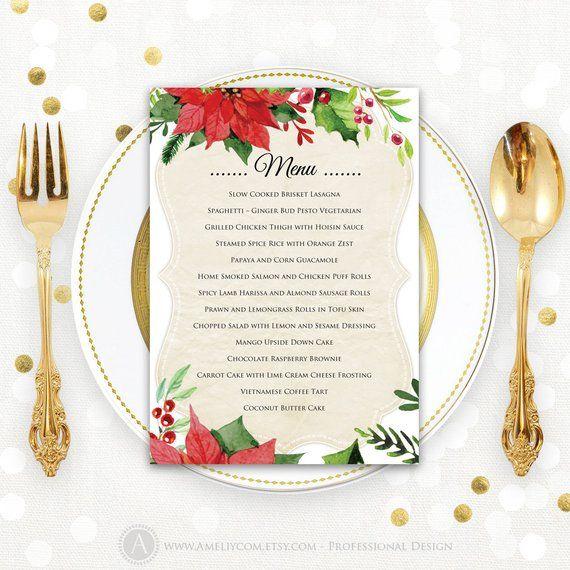 Christmas Menu Printable Dinner Menu Rustic Christmas Dinner Menu Holiday Menu Winter Dinner Party D Christmas Menu Winter Dinner Party Christmas Dinner Menu