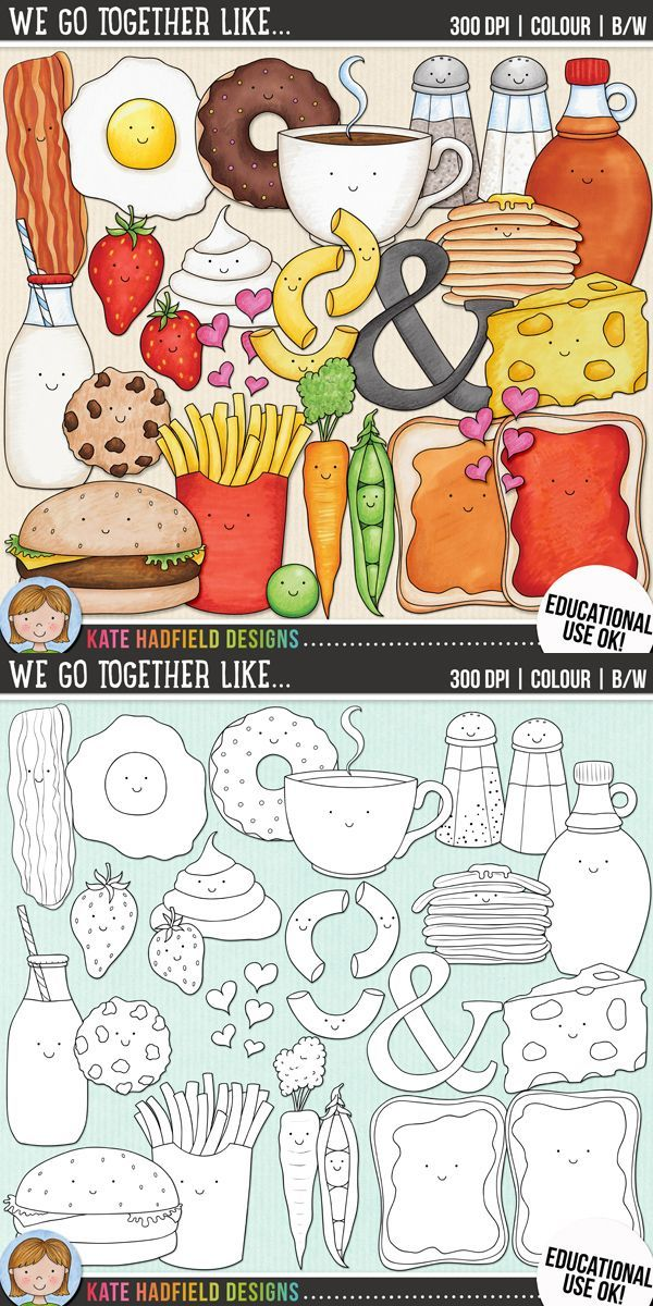 Food pairs / Valentine's clip art for teachers!   Contains coloured clipart and black and white outlines at 300 dpi for highest quality printing for your resources and projects!   Hand-drawn clip art by Kate Hadfield Designs at Teachers Pay Teachers