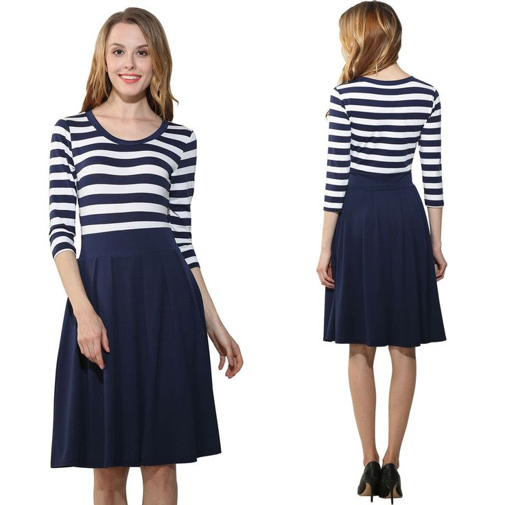 A-Line Striped Party Dresses Crew Neck 3/4 Sleeve Womens Dresses Navy Blue