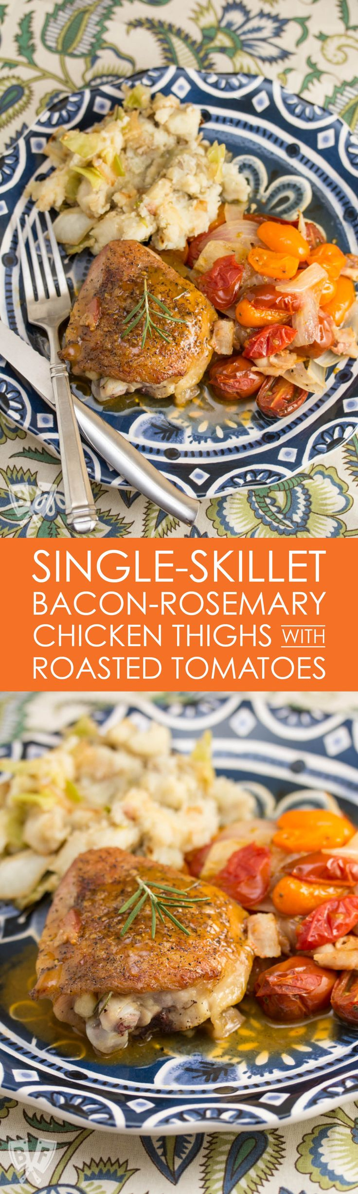 I love single skillet meals! This one-pan meal is great for busy weeknights. A quick pan sauce is the perfect finish for these crispy-skinned chicken thighs with bacon, rosemary, and tomatoes. #skilletmeals #weeknightdinner #onepanmeal #ironskillet #chickendinner #familyfavorite #comfortfood