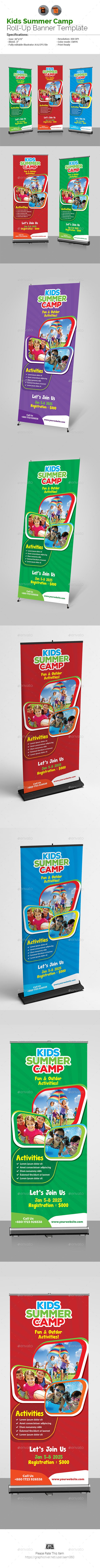 """Kids Summer Camp Roll Up Banner by aam360 Similar Templates:INFORMATIONS FOR THIS ROLL-UP BANNER:FEATURES:Size: 30""""x70""""Bleed: .5""""Four Color VariationsFully editable Illustr"""