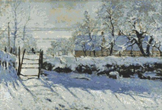 Claude Monet's Magpie Counted Cross Stitch Pattern / Chart, Instant Digital Download  (ABA018)