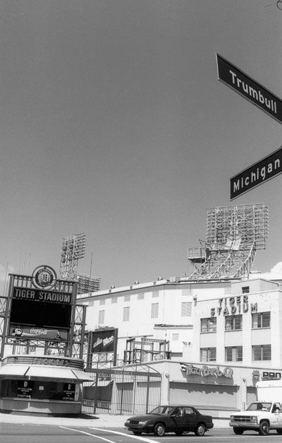Tiger Stadium at the corner of Michigan and Trumbull.