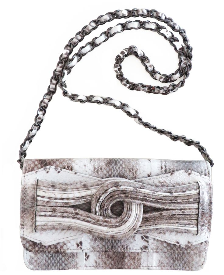 SUKI bag for AW14 season - natural colour watersnake leather.  Use strap or clutch with wrist slip.