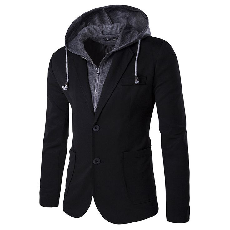 Mens Slim Fit Hooded Blazers New Arrivals Casual Suit Jacket Homme Two Button Terno Fashion Clothes ZX57