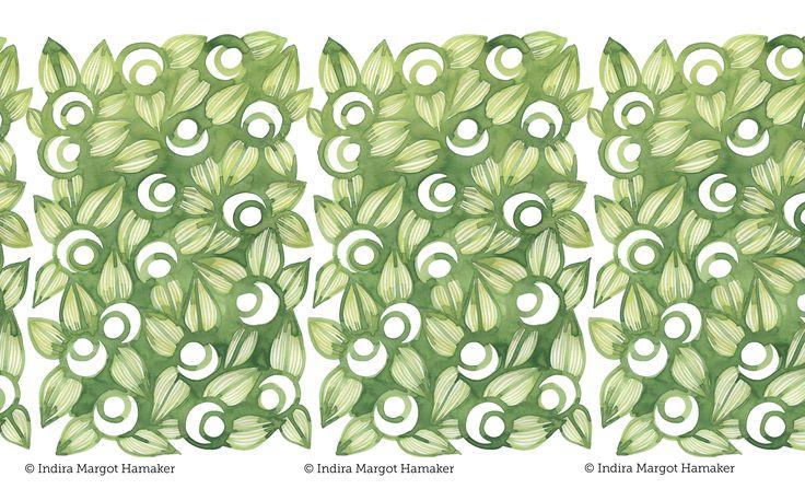 'Green Berries' pattern print illustration by Indira Hamaker