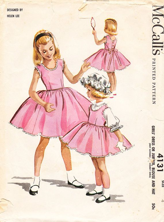 Vintage 1950s Helen Lee Bouffant Dress Jumper by daisyepochvintage, $12.00