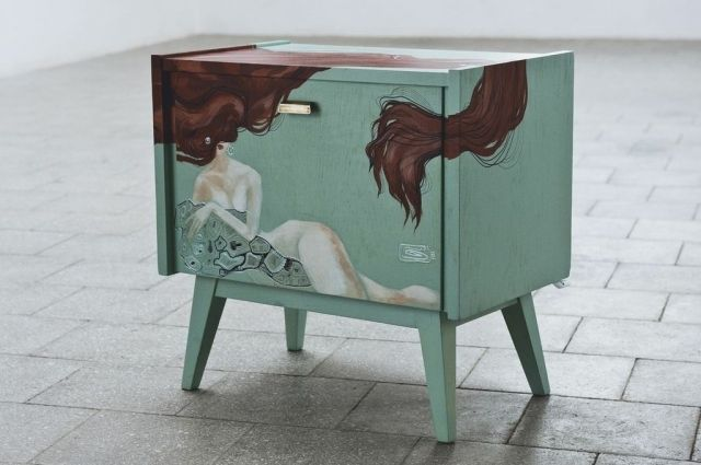 Nightstand from the 50's. Covered with specialist acrylic paint for wood. It includes a drawer.  Front, top, left and right side are decorated with painting by Olga Ivanova, student of Academy of Fine Arts in Minsk.