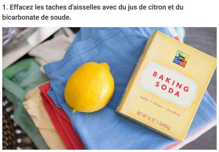 Effacez les taches d'aisselles avec du jus de citron et du bicarbonate de soude.