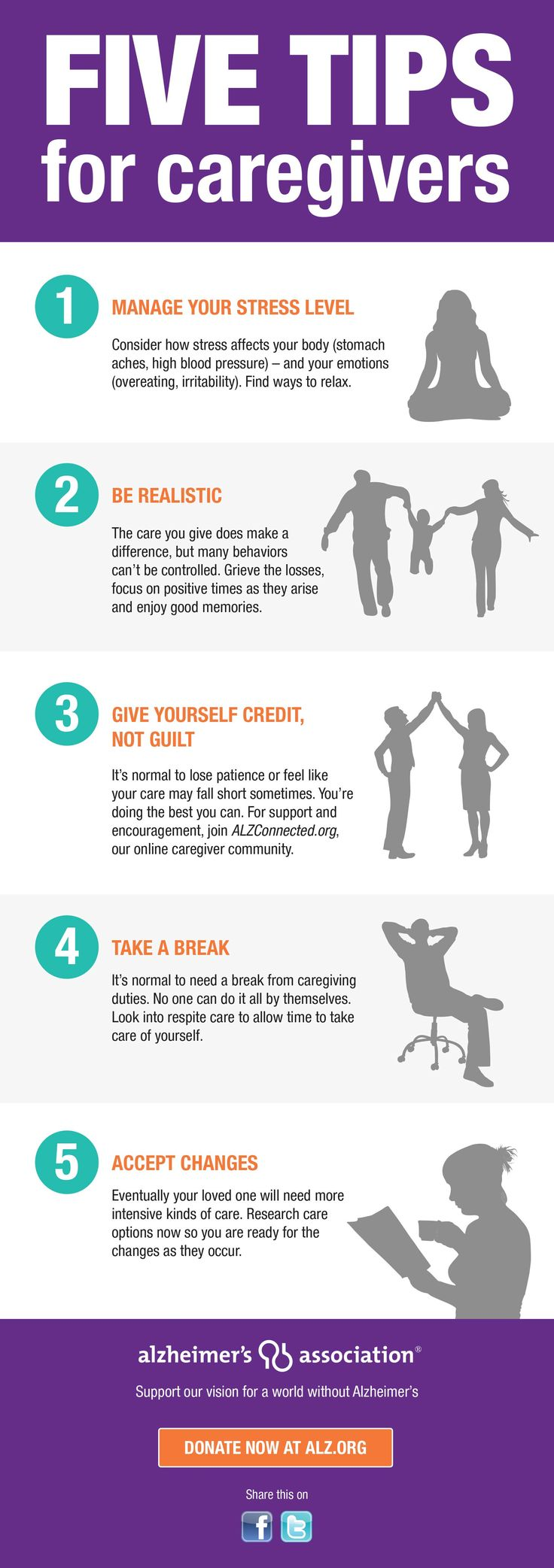 Five tips for caregivers by Alzheimer's Assoc. #ENDALZ  #caregiving