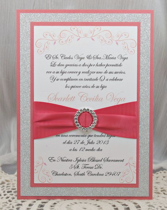 146 best invitations images on pinterest invitation cards card coral peach quinceaerasweet sixteen invitation full of bling sparkle and dazzle solutioingenieria Choice Image