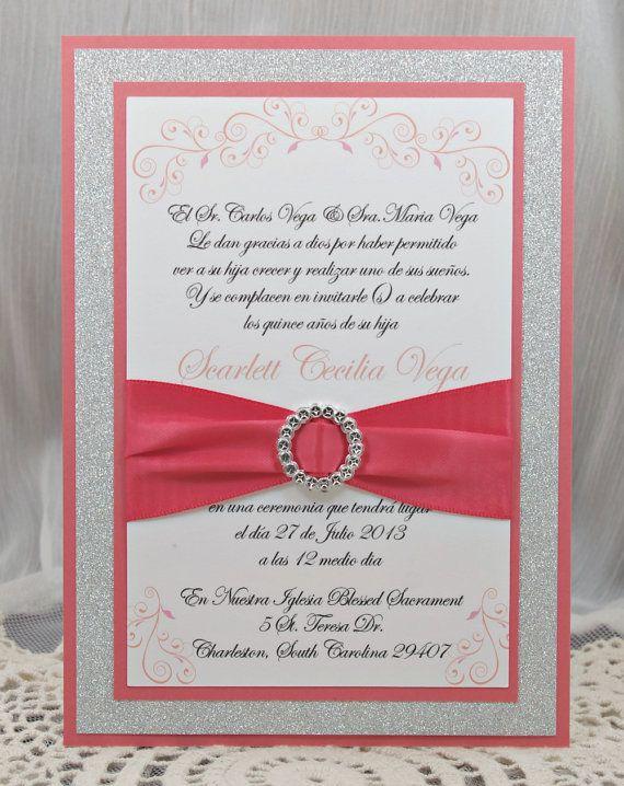 Coral Peach Quincea 241 Era Sweet Sixteen Invitation Full Of
