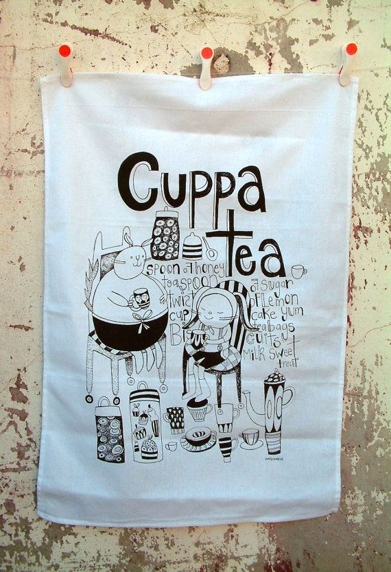 Cute enough to hang in the kitchen as display! at http://www.etsy.com/listing/160389769/screen-printed-tea-towel-cuppa-tea