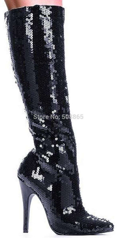 12cm high heels women boots black Glitter women sexy knee high heel boots for ladies,women boots high heel sexy knee high boots