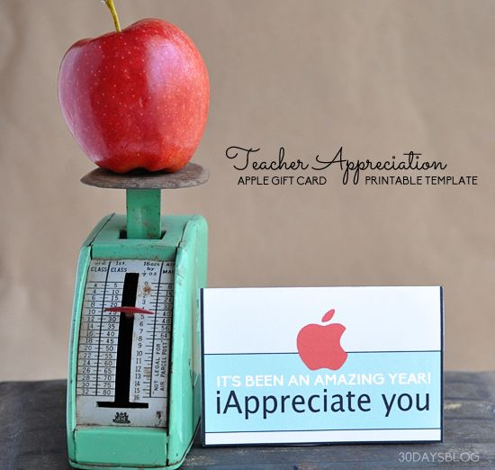 Teacher Apple Gift Card Printable Template www.thirtyhandmadedays.com