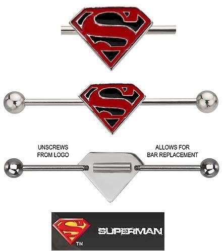 "Superman Super man S shield Red & Black Surgical Steel Official Licensed DC Comics Industrial Barbell Earring 1 1/2"", 38mm playful piercings http://www.amazon.com/dp/B00AW2ICBK/ref=cm_sw_r_pi_dp_IO0Oub0T4403R"