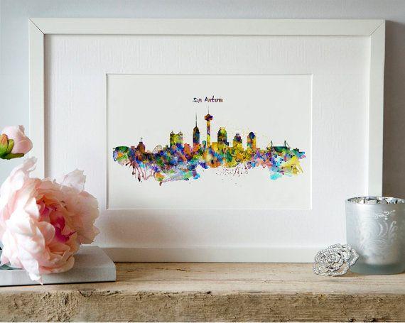 San Antonio Skyline Silhouette Watercolor painting by Artsyndrome