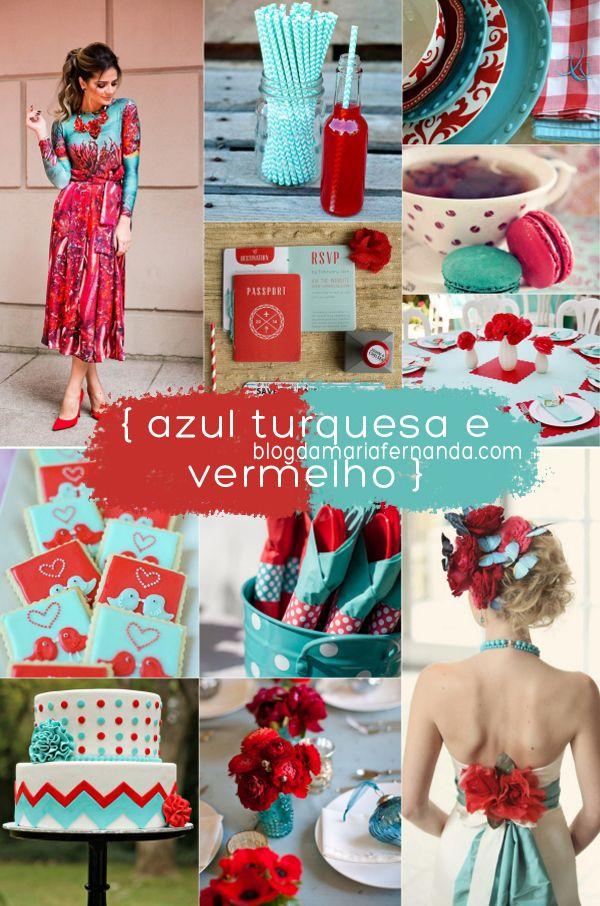 Decoração de Casamento : Paleta de Cores Azul Turquesa e Vermelho   http://blogdamariafernanda.com/decoracao-de-casamento-turquesa-e-vermelho
