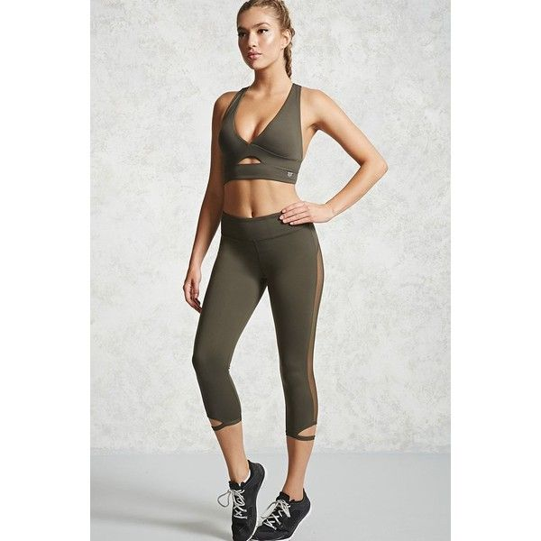 Forever21 Active Capri Leggings ($18) ❤ liked on Polyvore featuring pants, leggings, olive, army green leggings, forever 21 pants, olive leggings, olive green pants and military green pants