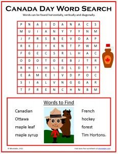 Free Canada Day word search.  Happy Canada Day this July 1st!