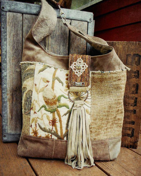 bohemian hobo bag ..... patchwork leather fringe & lace bucket shoulderbag  purse by ZiBagz