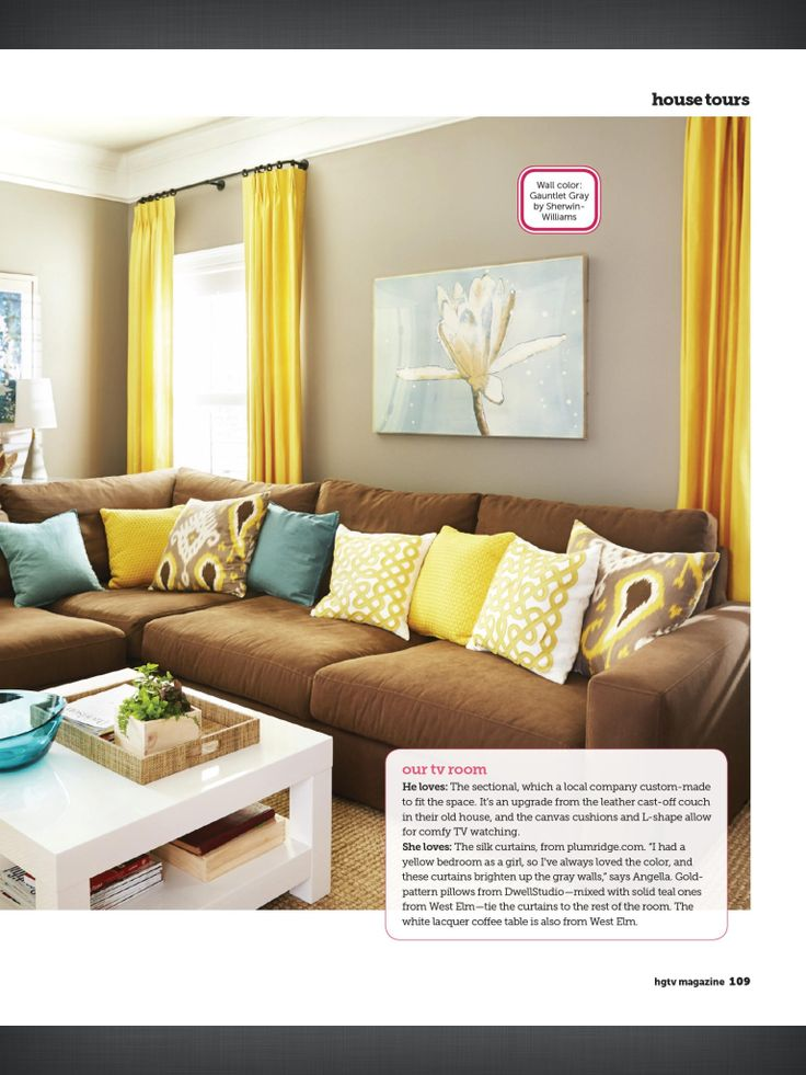 I love the curtain length and color color palette similar for Living room yellow color
