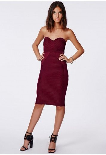Evelyn Bandage Bandeau Contrast Bodycon Oxblood - Dresses - Bodycon Dresses - Missguided
