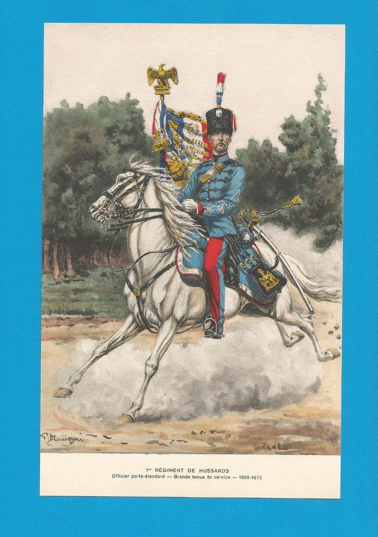 France -Planche de BENIGNI  - 1868. 1er Rgt.de HUSSARDS.Officier porte-étendard.