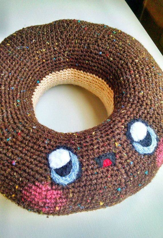 Crochet Donut Pillow : Kawaii Chocolate Donut Pillow Amigurumi~ https://www.etsy.com/listing ...