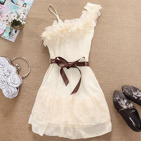 Fun summer dress: Cute Tops, Cheap Dresses, Cheap Clothing, Style, Cute Dresses, One Shoulder, White Dresses, Cute Clothing, Chiffon Dresses