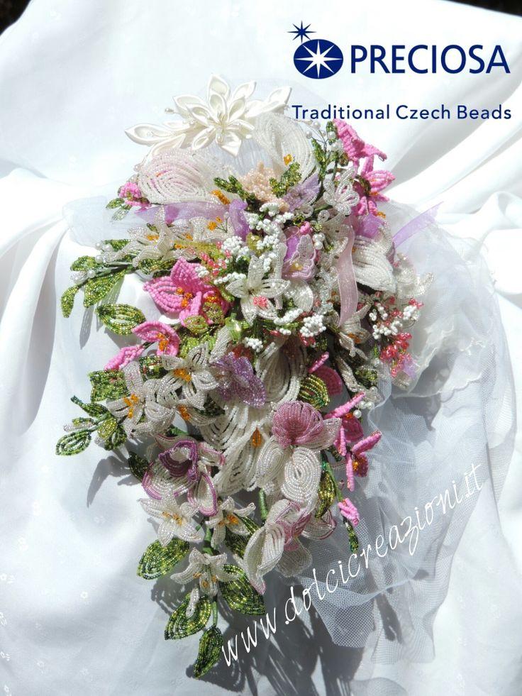 Fiori di perline: bouquet sposa bridal beaded flowers bouquet  www.dolcicreazioni.it