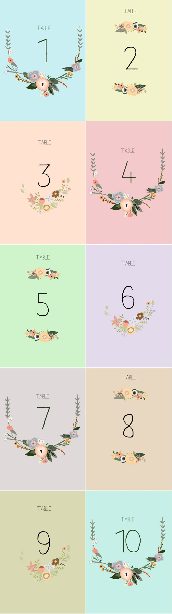 printable table numbers for your wedding