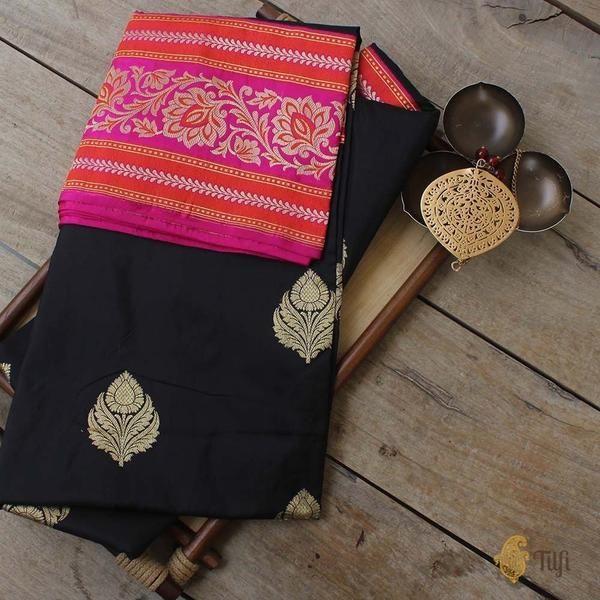 Black-Indian Pink Pure Katan Silk Banarasi Handloom Saree