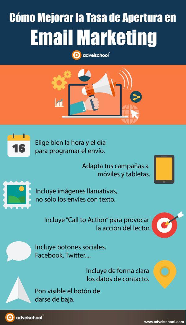 Cómo mejorar la Tasa de Apertura en Email Marketing #infografia #marketing
