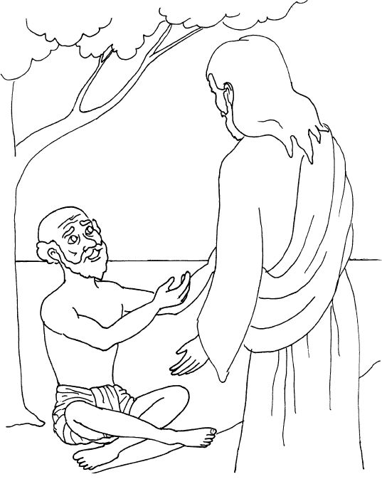 Jesus heal the blind man coloring page