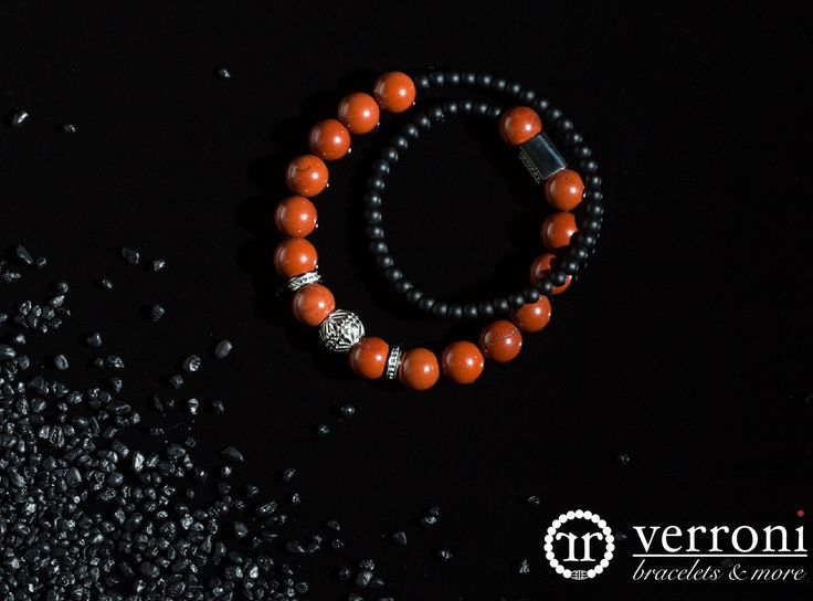 verroni Black & Right Handcrafted premium bracelet with natural red jasper, brasil black agate and stainless steel.