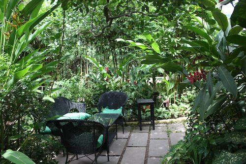 In the garden of the Butterflies Restaurant in Siem Reap Cambodia