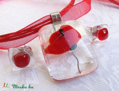 Meska - Pipacs jégkockában üvegékszer szett, ajándék nőknek névnapra, születésnapra. Dittiffany kézművestől