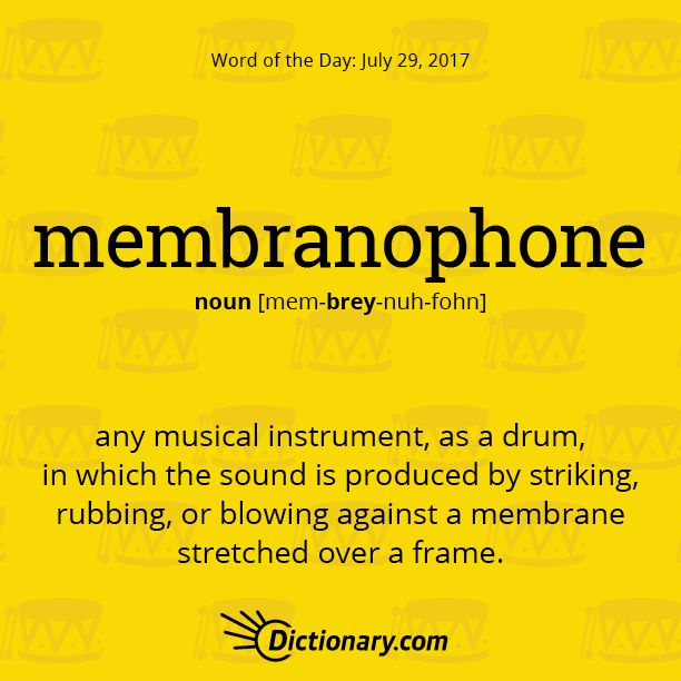 membranophone - any musical instrument, as a drum, in which the sound is produced by striking, rubbing, or blowing against a membrane stretched over a frame.